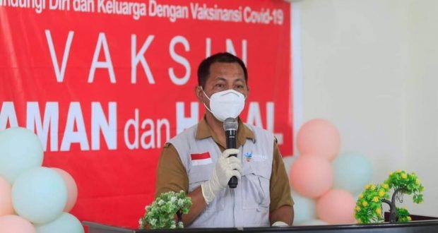 Kepala Dinas Kesehatan Bolmut, dr. Jusnan. C. Mokoginta, MARS, saat menyampaikan sambutannya pada pencanangan Vaksinasi
